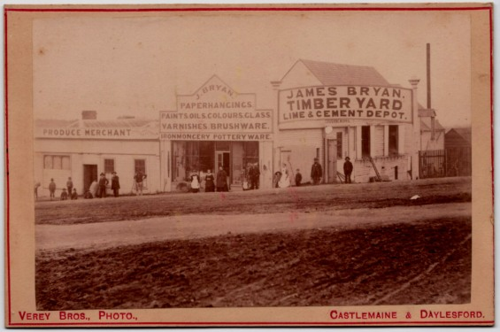 This photograph of John Bryan Mole's great grandparent's shop in Daylesford was scanned by John from an old family album in the possession of his 3rd cousin Nancy Rhyll Trewhella (nee Edwards) when John and his wife June travelled to Mt Gambier on a trip (by Citroen SM!) 2nd to 7th July 2002.