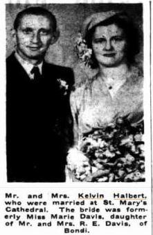 Halbert, Kelvin & mary Davis wed. Catholic Weekly 1947