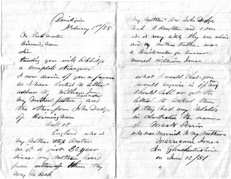 Letter from Geo to PO Birmingham 1 Feb 1885