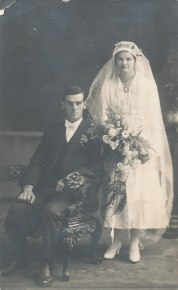 Oyston, Harold Arth. 1893-1976 son of Francis Oyston & Elizabeth McMillan & Hilda Maud Hill 1900-1979.They married on 13 Jul 1921. Reverse says From Harold and Hilda to dear Auntie Ada w