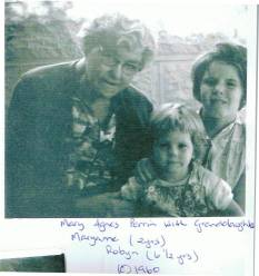 Perrin, Mary Agnes with grandaughters Mary Ann 2 and Robyn 6 and a half 1960 from Marie